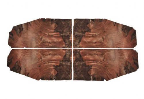 "Caucasian Walnut burr veneer. Set of 4 leafs 16"" x 7.5"" ( 40 cm x  19 cm )"